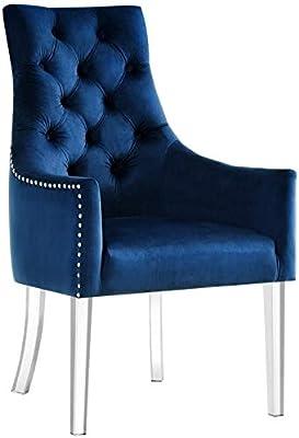 ba4ee3c68ec Posh Living Colton Navy Blue Dining Chair - Velvet - Set of 2 - Acrylic Legs