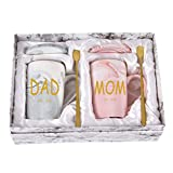 Dad and Mom Marble Coffee Mug Set Est 2021 New Mom and Dad Mug Gifts for New and Expecting Parents to Be Coffee Cup 14 Oz with Gift Box