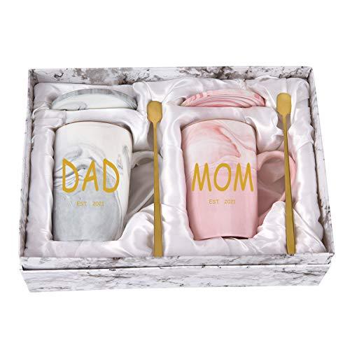 Dad and Mom Marble Coffee Mug Set Est 2021 New Mom and Dad Mug Gifts...