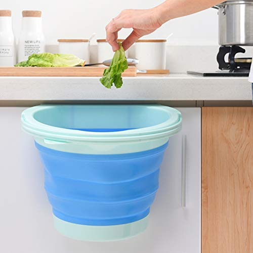 2 Pcs Hanging Trash Cans, Compact Folding Trash Can, Silicone Collapsible Trash Can Kitchen Cabinet Door Hanging Trash Bin for Sink, Bedroom, Car, Blue-Green, Pink-Green, 2 Gallon