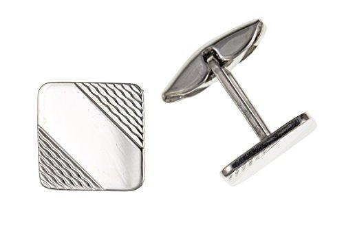 Moteur tourné carré Boutons de manchette – Argent Sterling 925 – Livré dans une boîte cadeau gratuit ou sac cadeau