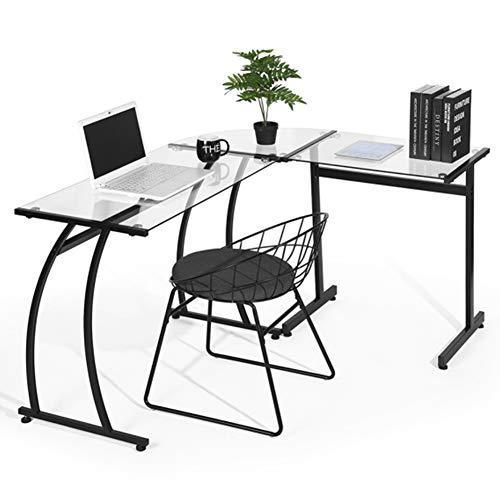 BAKAJI Schreibtisch Ecktisch PC Design Modern Porto Eckig Büro Kinderzimmer Haus Postation Arbeitszimmer Glas Rahmen Metall (transparent)