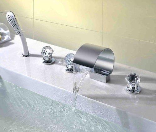 Grifo de llenado de bañera romana de 5 agujeros Bathromm con grifos de ducha de mano para bañera