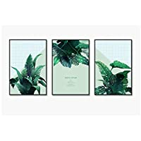 YQQICC 北欧のポスター熱帯の緑の植物の葉キャンバス絵画壁アートプリントリビングルームの家の装飾のための現代写真-40x60cmx3フレームなし