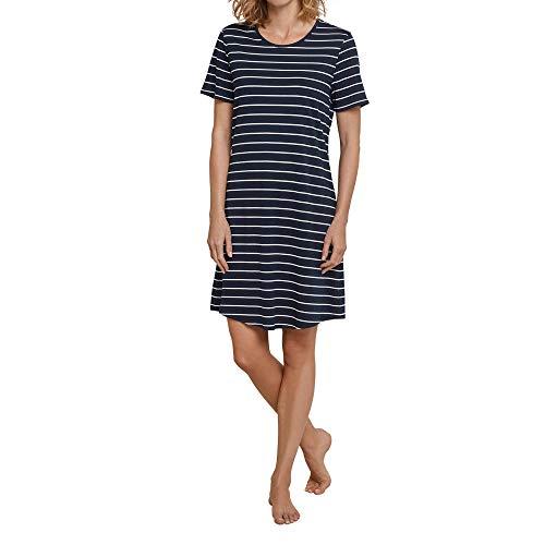 Schiesser Damen Negligee Sleepshirt 1/2 Arm, 90cm, Blau (Nachtblau 804), 44