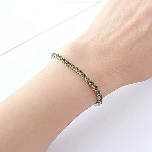 XIANNU Damen Armband,Armband für Hochzeit Silber Armband Strass Charme Frauen Armreifen Schmuck Pulseira Feminina Orange Grün