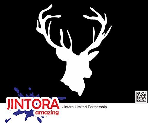 JINTORA Etiqueta para el Coche/Etiqueta engomada - Pista de los Ciervos - Caza del dólar - 114mm x139mm - JDM/Die Cut - Blanco