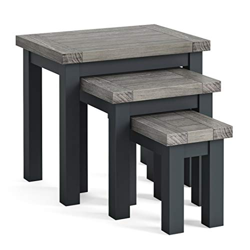 Bristol Grey Nest of Tables for Living Room | Roseland Furniture Contemporary Set of 3 Painted Solid Wooden Nesting Side End Coffee Tables | Fully Assembled (Charcoal)