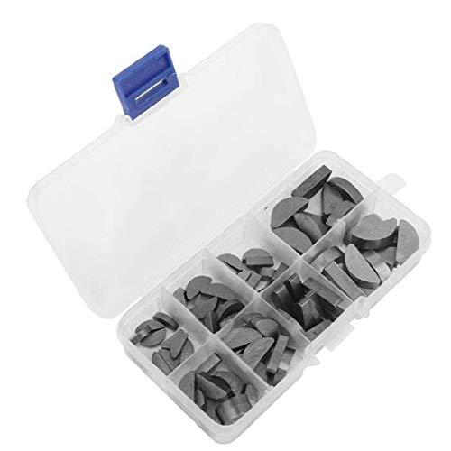 Metall Woodruff Keys Halbkreis Sortiment Box Kit Set Verschiedene Größen 80pcs