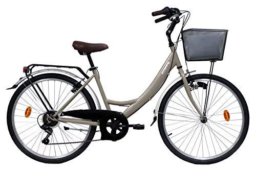 Bicicleta de montaña de 26 pulgadas, estilo retro, carretera, 66 pulgadas, 6 velocidades inxadas, frenos V-Brake y equipamiento City