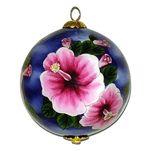 Maui by Design Hawaii Hibiscus Ornament Hand-Painted Collectible Glass Hawaiian Christmas Ornament FHN/H