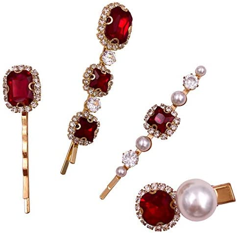 4PCS Vintage Ruby Red Crystal Pearl Gold Bobby Pins Decorative Hair Slides Clips Accessories product image