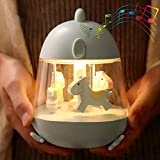 WINICE Carousel Music Box Night Light for Kids, Cute Baby Toddler Nursery Bedroom Decor Lamp, USB Rechargeable & Dimmable & Portable & Timer, Christmas Gifts for Boys & Girls (Blue)