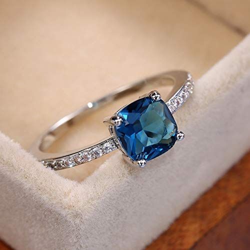 YOTONG Quadratischer blauer Stein Ringe Pinky Accessoires Ring Band Elegant Verlobungsringe