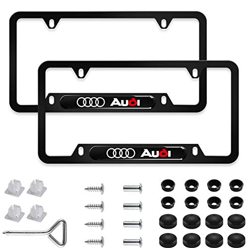 Sparkle-um 2Pcs Newest Custom Personalized 4 Hole Matte Aluminum Alloy Audi Logo License Plate Frame with Screw Caps Cover Set,Applicable to US Standard car License Frame, for Audi(Matte Black)