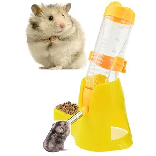 FUNLOVE 3 en 1 Tienda de hámster Colgante Dispensador automático de Agua para Mascotas con Base de contenedores de Alimentos,