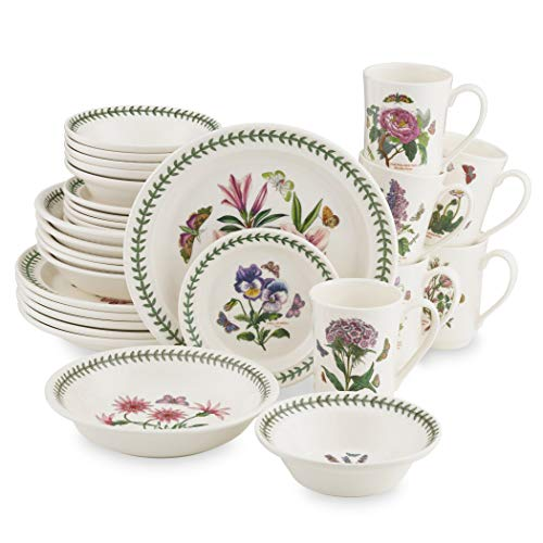 Portmeirion Dinnerware - Botanic Garden 30 Piece Earthenware Dish Set - Service for 6, Includes Dinner Plate, Side Plate, Mug, Soup Bowl and Pasta Bowl