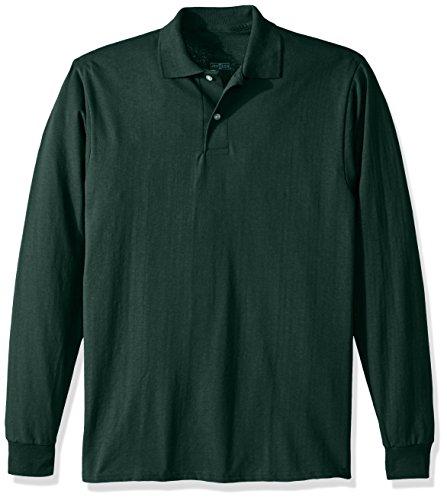 Jerzees Herren Spot Shield Long Sleeve Polo Sport Shirt Poloshirt, waldgrün, Groß