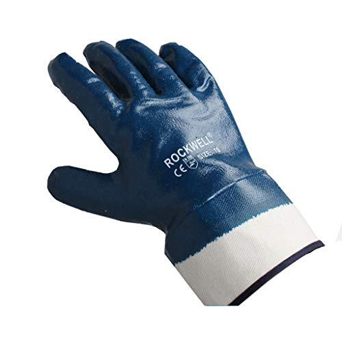 Ofenhandschuhe Hitzebeständig Industrielle Handschuhe, Nitrilkautschuk getaucht Slip-Armband, Geeignet zum Laden, Entladen, Verpacken, Gartenarbeit, Ofen, 10 Paare, Blau Hitzebeständiger Bbq-Kochherdh
