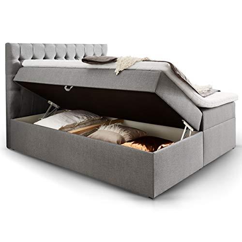 *Moebella Boxspringbett mit Bettkasten H3 Webstoff Grau XXL Stauraum Chester Topper Taschenfederkernmatratze Knopfheftung (160 x 200 cm)*