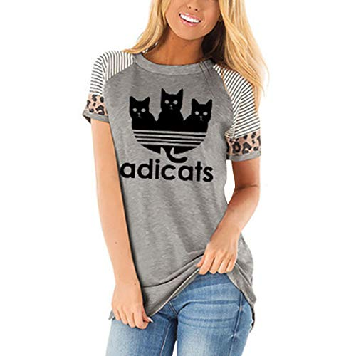 Adicats Damen Tops T-Shirt Gestreift Kurzärmelig Lustig Niedlich Cat Lässige Bluse
