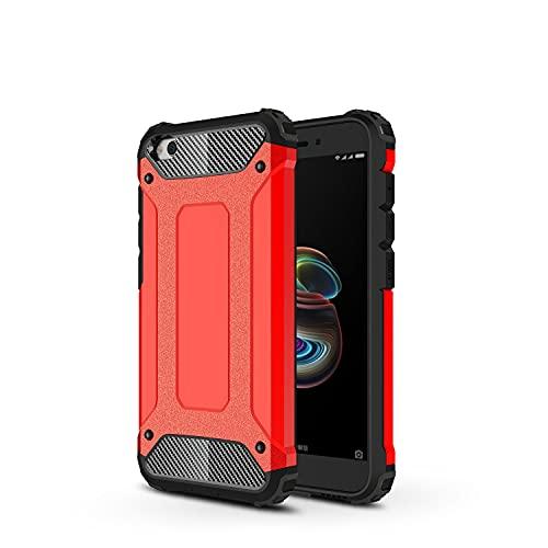 JIAHENG Caja del teléfono Funda Protectora para Xiaomi Redmi Go Case, TPU + PC Parachoques Dual Capa de Doble Capa Protectora híbrida a Prueba de Golpes. Cubierta de Cuero (Color : Red)