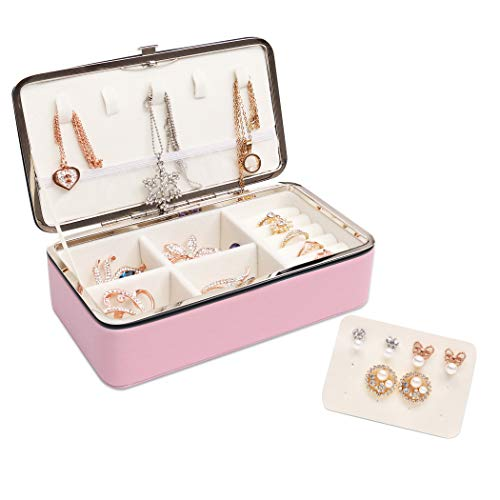 Becko Jewelry Box Organizer Travel Jewel Case for Multiple Necklaces, Rings, Earrings, Leather & Suede, Lightweight, Portable & Practical (Pink)