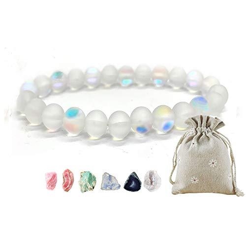 Amaya Armband Damen Frauen Herren - Chakra Chakren Stein Naturstein – Perlen-Armband - Modeschmuck handgefertigt – grün rosa weiß – Rosenquarz Mondstein Amazonit Kristall