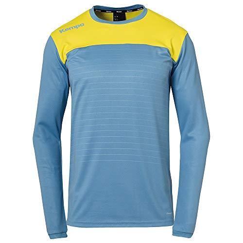 Kempa Kinder Emotion 2.0 Langarmshirt Oberbekleidung, Dove blau/limonengelb, 164