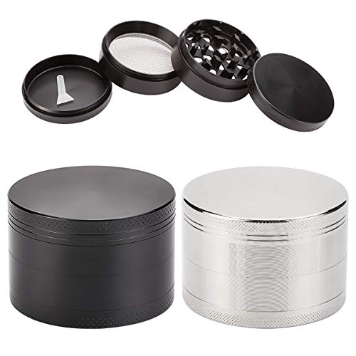 2 Pack 2.5' Large Spice Herb Grinder Black Silver 4 Piece Zinc Alloy with Pollen Scraper, Magnetic Lid and Sharp Teeth