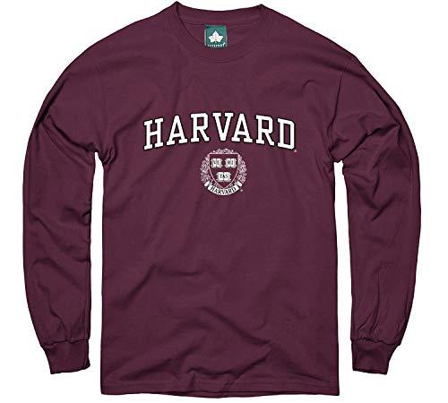 Ivysport Harvard University Crimson Long Sleeve T-Shirt, Crest, Maroon, Medium