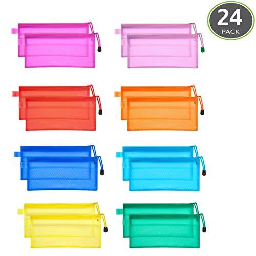 JM-capricorns 24pcs 9 x 4-1/2 inches Waterproof Plastic Double Layer Zipper File Bags Invoice Pouches Bill Bag Pencil Pouch Pen Bag (10 Color)