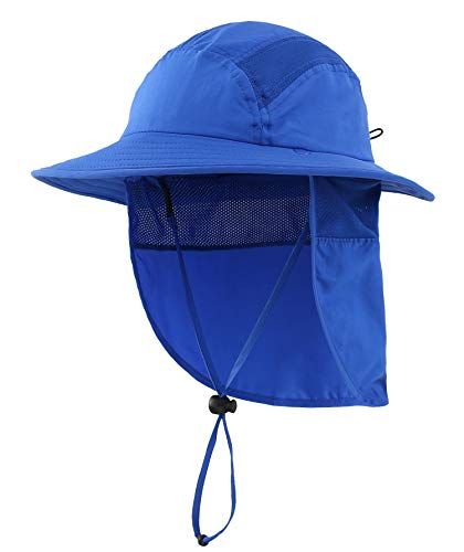 Home Prefer UPF 50+ Boys Sun Hat with Neck Flap Summer Beach Hat Kids Safari Hat (Bright Blue)