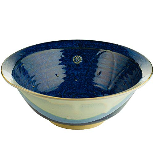 """Castle Arch Pottery Medium Salad and Serving Bowl Hand-Thrown Hand-Glazed in Ireland. Measures 10"""" Diameter 3.5' Height with Traditional Celtic Spiral Motif (Blue)"""