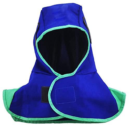 Soldadura Soldadura de la capilla de la capilla de nylon resistente al calor Casco cuello de la cara del soldador Protección Seguridad Escudo Azul