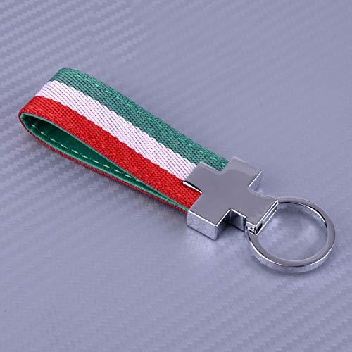 XMWW Italia Bandera Italiana Llavero Correa Llavero Llavero de Cuero PU