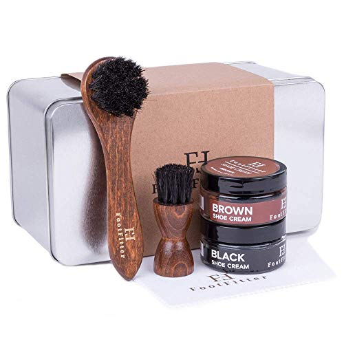 FootFitter Gift Shoe Shine Set, Best Small Starter Shoe Cream Polishing Kit