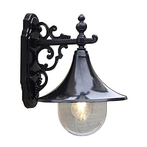 AXWT LED Nordic Retro Applique Extérieure Étanche Mur Extérieur Lumière Jardin Porte Avant Gazebo Lumière Porte Extérieure Étude Lanterne E27 Corne Applique (Color : Black)