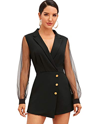 SheIn Women's Notch Collar Mesh Sleeve Button Wrap Trim Jumpsuit Short Wide Leg Romper Black Large