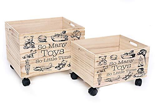 Spielzeugkiste mit Rädern aus Holz 2er-Set natur