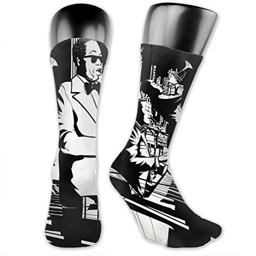Moruolin Cool Colorful Fancy Novelty Casual Cotton Socks,Jazz Concert Band Playing Saxophone Double-Bass Trumpet And Keyboard At Night