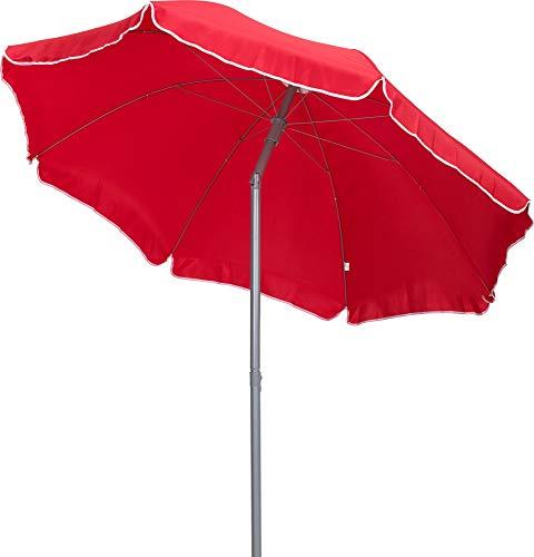 TrendLine Sonnenschirm rot Ø 180 cm UV-Schutz: 60+ Sonnenschutz Strandschirm