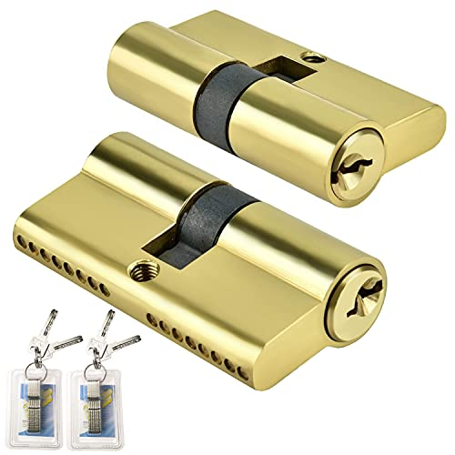 GZLCEU Lot de 2 serrures à cylindre, double cylindre de serrure en laiton avec 8 clés Serrure de porte pour bois, jointures, UPVC et portes métalliques (65 x 17 x 30 mm, or)