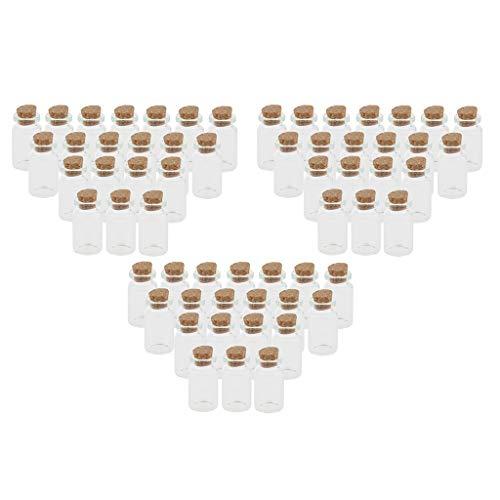 Colcolo 60 Tarros de 10 Ml con Tapones de Corcho para Decoración de Bricolaje, Vidrio Transparente