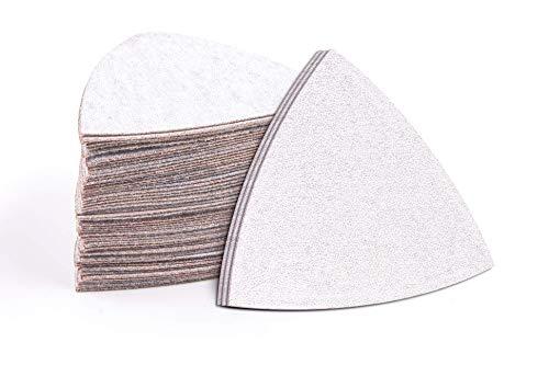 Fandeli, 36500, lija triangular premium papel de lija, triángulo de lijado granos surtidos, almohadillas para detalles, 80, 120, 240, 3.2'x2.86', multipropósito, paquete de 50