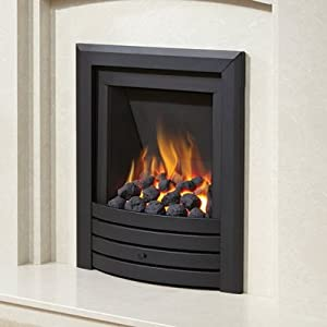 Be Modern Alcazar Slimline Inset Gas Fire Manual Control Black Design Trim