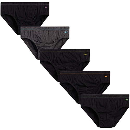 Reebok Men's Low Rise Underwear Briefs (5 Pack) (Black/Charcoal, Medium)