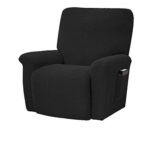 BHAHFL Recliner Stretch Sofa Schonbezug Sofabezug 4-teilige Möbel Protector Couch Soft mit elastischem Boden Kids, Spandex Jacquard Fabric Small Checks,Schwarz