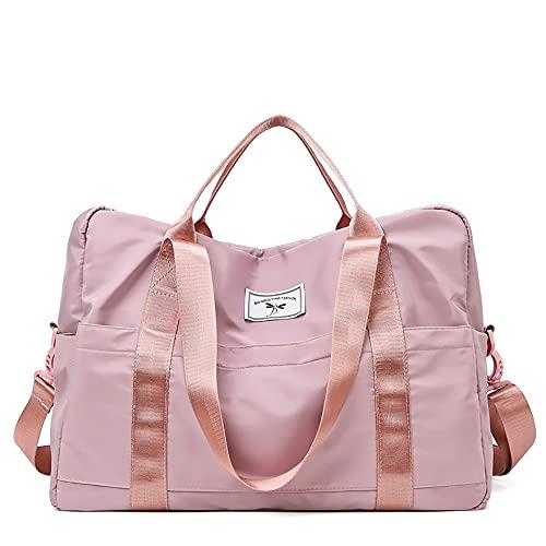 LCAWEI - Borsone da viaggio impermeabile da donna, 28,51 l, borsa da viaggio per la notte, con tasca bagnata per un facile viaggio e fitness, rosa, L,