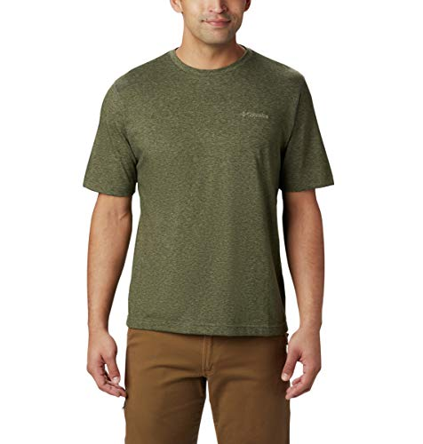 Columbia Men's Thistletown Park Crew Short Sleeve Tee, Large - Surplus Green Heather